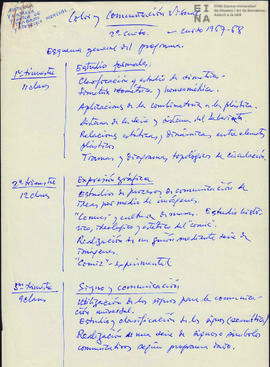 Color y comunicación visual, 2º curso 1967-68